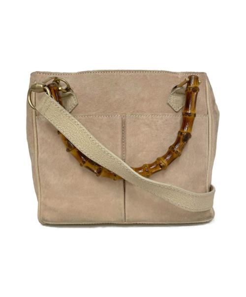 GUCCI(グッチ)GUCCI (グッチ) スェードバンブーハンドバッグ ベージュ 000・122・0316の古着・服飾アイテム