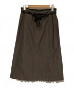 beautiful people(ビューティフルピープル)の古着「シャドウチェックエプロンプリンテッドスカート」 ブラウン×グレー