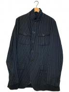 ()の古着「4ポケットストライプジャケット」 ブラック