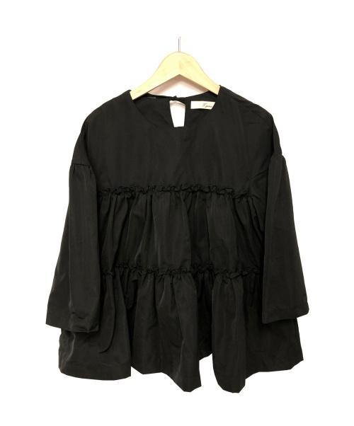 t.yamai paris(ティ・ヤマイパリ)t.yamai paris (ティ・ヤマイパリ) メモリータフタティアードブラウス ブラック サイズ:1  TY51-17-FC209の古着・服飾アイテム
