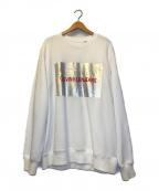 Calvin Klein Jeans(カルバンクラインジーンズ)の古着「メタリックロゴクルーネックビッグスウェット」 ホワイト