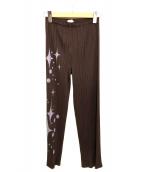 ()の古着「プリントプリーツパンツ」|ブラウン