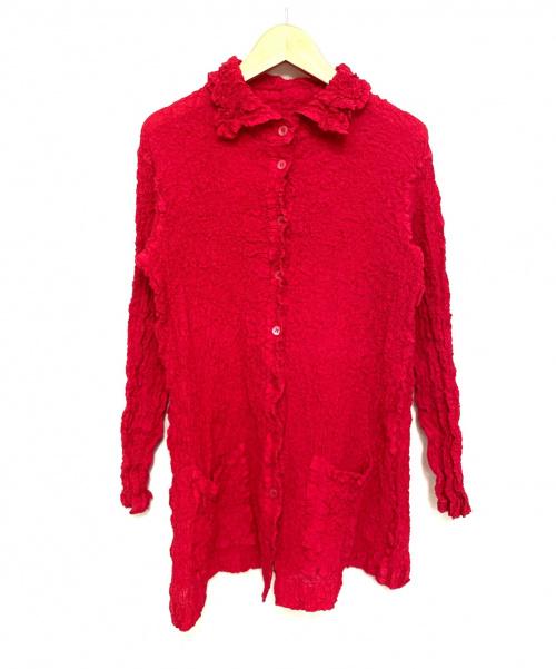 ISSEY MIYAKE me(イッセイ ミヤケ ミー)ISSEY MIYAKE me (イッセイ ミヤケ ミー) ワッシャープリーツロングブラウス ピンク サイズ:記載無 MI04FA912の古着・服飾アイテム