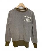 KAPITAL(キャピタル)の古着「ヘリンボーンエルボーパッチクルーネックスウェット」|ホワイト×グリーン