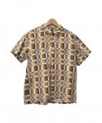 CALEE(キャリー)の古着「総柄S/Sオープンカラーシャツ」|ブラウン