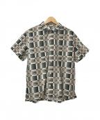 CALEE(キャリー)の古着「総柄S/Sオープンカラーシャツ」|ホワイト×ブラック