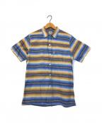COOTIE(クーティー)の古着「メキシカンボーダーオープンカラーシャツ」|ベージュ×ブルー