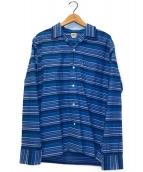()の古着「メキシカンボーダーオープンカラーシャツ」 ネイビー