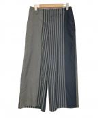 ETHOSENS(エトセンス)の古着「パネルストライプスラックス」|グレー