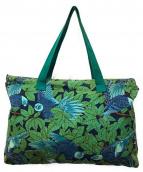 ()の古着「バードプリントトートバッグ」 ブルー×グリーン