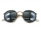()の古着「ラウンドフォールディングメタルサングラス」|ネイビー×ゴールド