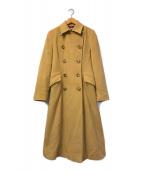 ()の古着「アンゴラ混ロングコート」|グリーン