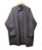 CASEY CASEY(ケーシーケーシー)の古着「比翼ステンカラーコート」 ネイビー