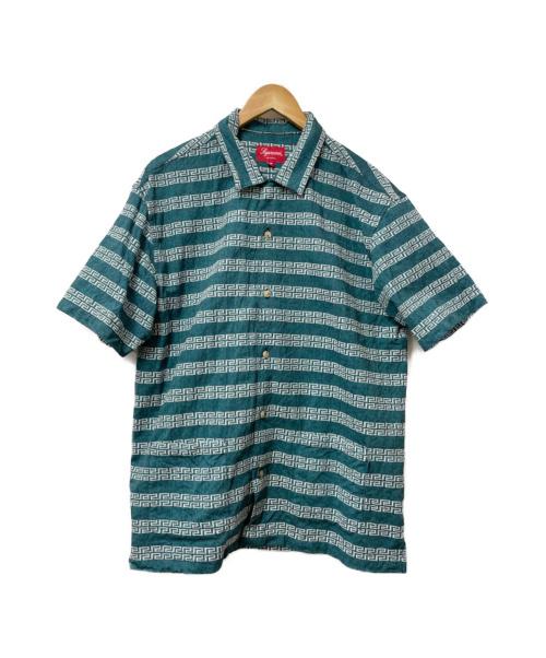 SUPREME(シュプリーム)SUPREME (シュプリーム) 総柄キーストライプオープンカラーS/Sシャツ グリーン サイズ:M 19SS key Stripe S/S Shirtの古着・服飾アイテム
