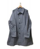 ()の古着「ギンガムチェックリバーシブルステンカラーコート」|ブルー