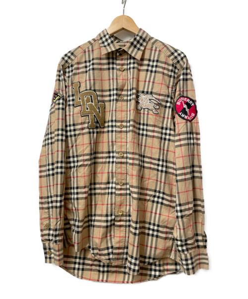 BURBERRY(バーバリー)BURBERRY (バーバリー) ロゴグラフィックヴィンテージチェックシャツ ベージュ サイズ:M 19AW CLASSIC FIT LOGO GRAPHIC VINTAGE CHECK SHIRTの古着・服飾アイテム