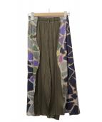 ()の古着「ミックスデザインプリーツスカート」|グリーン