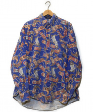 MAREH (-) [OLD]オールド総柄L/Sシャツ ブルー サイズ:L ウエスタンブーツ柄