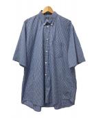 BALENCIAGA(バレンシアガ)の古着「バックロゴプリントBDチェックS/Sシャツ」|ブルー