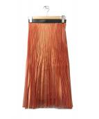()の古着「ウエストエコレザープリーツスカート」|オレンジ