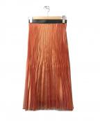 AKIRA NAKA(アキラナカ)の古着「ウエストエコレザープリーツスカート」|オレンジ