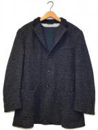 ()の古着「リブカラーニットテーラードジャケット」 ネイビー×ブラウン