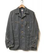 ()の古着「ヒッコリーカバーオールロコジャケット」|ネイビー×ホワイト