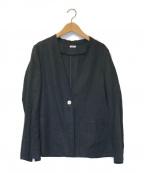IENA()の古着「フレンチリネンカラーレスジャケット」|ブラック