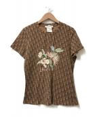 Christian Dior BOUTIQUE(クリスチャン ディオールブティック)の古着「フラワー刺繍トロッターデザインTシャツ」|ブラウン
