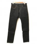 ONI DENIM(オニデニム)の古着「16oz鬼藍墨リラックステーパードデニムパンツ」 ブラック