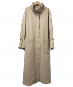 GRACE CONTINENTAL()の古着「スタンドカラーコットンロングトレンチコート」|ベージュ