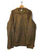 ()の古着「[OLD]ヴィンテージヘリンボーンプルオーバーシャツ」|ブラウン
