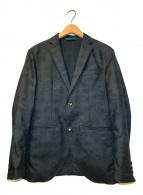 ()の古着「リーフ柄ライトテーラードジャケット」 ブラック