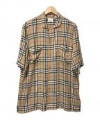 BURBERRY()の古着「ヴィンテージチェックオープンカラーシャツ」|ベージュ