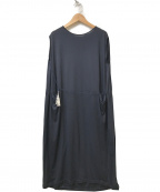 mina perhonen(ミナ ペルホネン)の古着「ウエストドローコード装飾ノースリーブワンピース」|ネイビー