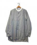 STILL BY HAND(スティルバイハンド)の古着「ロングバンドカラーストライプL/Sシャツ」 グレー