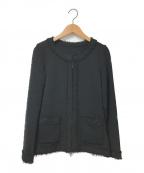 Rene(ルネ)の古着「ノーカラーニットジャケット」|ブラック