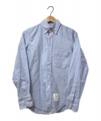 Thom Browne(トムブラウン)の古着「トリコロールラインBDオックスフォードシャツ」 スカイブルー