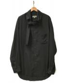 YohjiYamamoto pour homme(ヨウジヤマモトプールオム)の古着「スカーフカラーL/Sシャツ」 ブラック