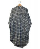 ()の古着「[OLD]チェックグランパシャツ」|グリーン×グレー