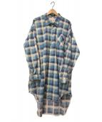 VINTAGE(ヴィンテージ/ビンテージ)の古着「[OLD]ヴィンテージオーバーサイズチェックL/Sシャツ」 ブルー×グレー