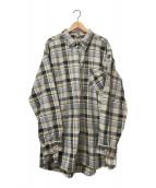 VINTAGE(ヴィンテージ/ビンテージ)の古着「[OLD]オールドチェックグランパシャツ」 イエロー×グレー