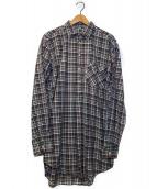 ()の古着「[OLD]オールドチェックグランパシャツ」|グレー