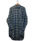 ()の古着「[OLD]オールドチェックグランパシャツ」|グリーン×ブルー