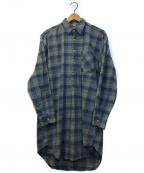 VINTAGE(ヴィンテージ)の古着「[OLD]オールドチェックグランパシャツ」|グリーン×ブルー