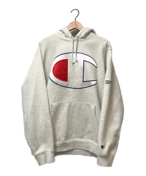 SUPREME×Champion(シュプリーム×チャンピオン)SUPREME×Champion (シュプリーム×チャンピオン) コラボサテンロゴプルオーバーパーカー グレー サイズ:L 17SS S2222X Satin Logo Hooded Sweatshirtの古着・服飾アイテム