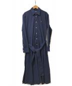 RALPH LAUREN(ラルフローレン)の古着「L/Sシャツワンピース」 ネイビー