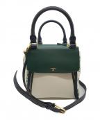 TORY BURCH()の古着「フラワーデザイン2WAYハンドバッグ」|ホワイト×グリーン