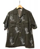 UNDERCOVER×Cindy Sherman(アンダーカバー×シンディシャーマン)の古着「コラボ総柄S/Sオープンカラーシャツ」 ブラウン