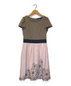 MS GRACY(エムズグレイシー)の古着「フラワー刺繍S/Sブラウスワンピース」|ブラウン×ピンク
